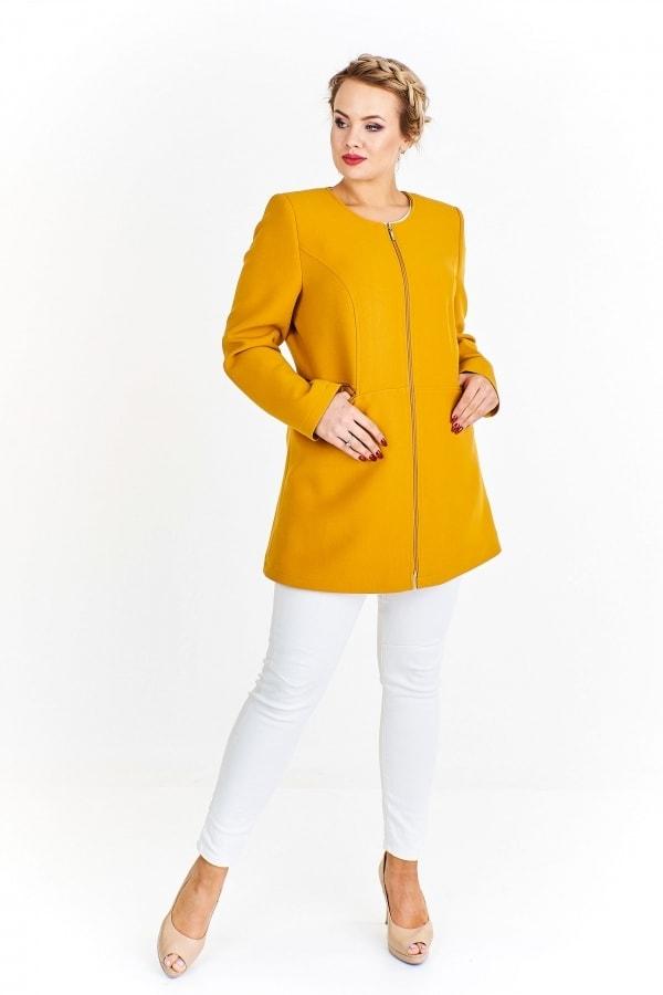 3daad7fbce96 Elegantný dámsky kabát - Ptakmoda - Bundy a kabáty pre plnoštíhle ...