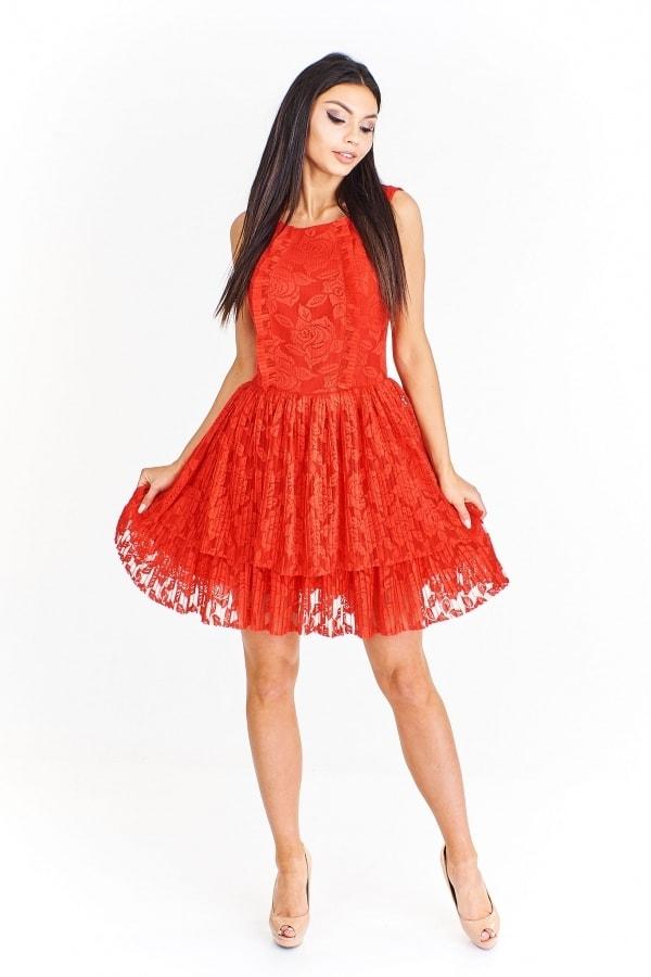 f1ce84596b1f Červené čipkované šaty - Ptakmoda - Krátke plesové šaty - vasa ...