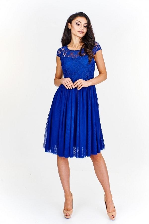 896e5ebf2385 Čipkované modré šaty - Ptakmoda - Krátke plesové šaty - vasa-moda.sk