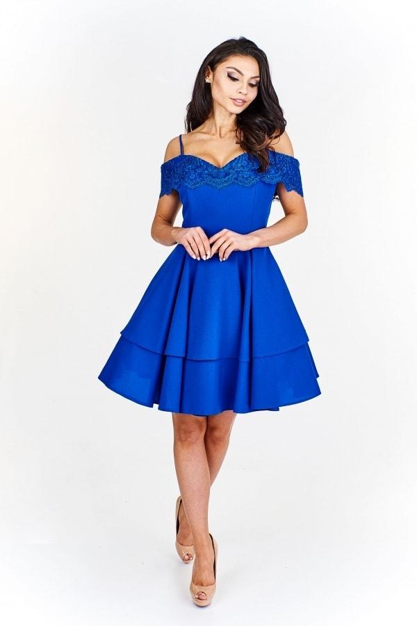 ed630bbd15a3 Modré spoločenské šaty - Ptakmoda - Krátke plesové šaty - vasa ...