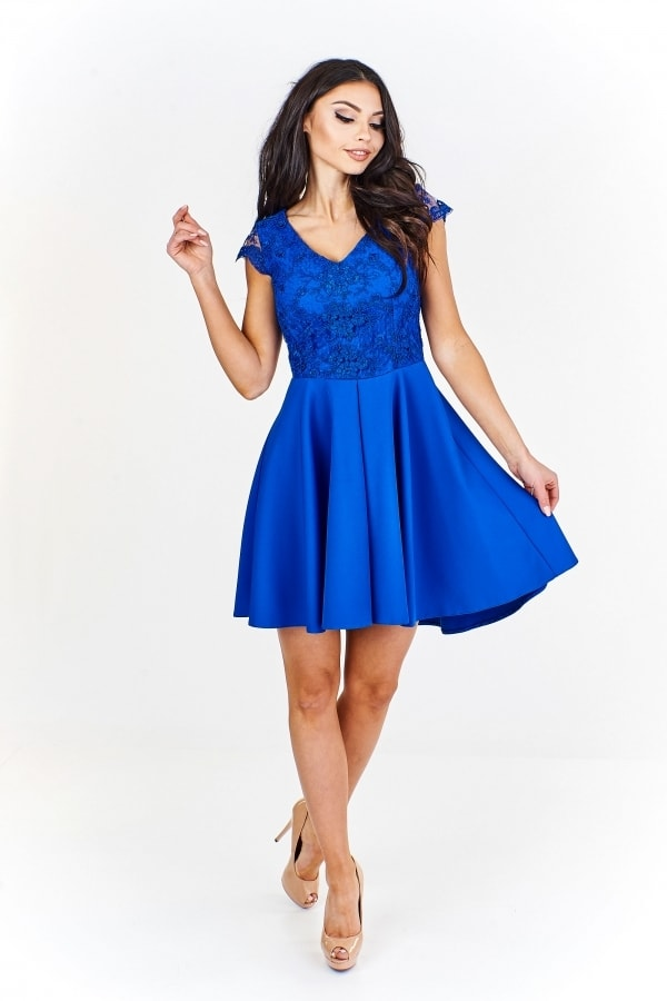 656d5b55fe34 Modré koktejlové šaty - Ptakmoda - Krátké plesové šaty - i-moda.cz