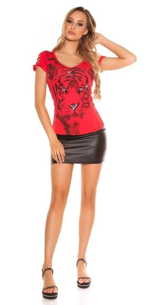 2935ee224d5f Letné červené tričko s potlačou - Koucla - Dámske tričká - vasa-moda.sk