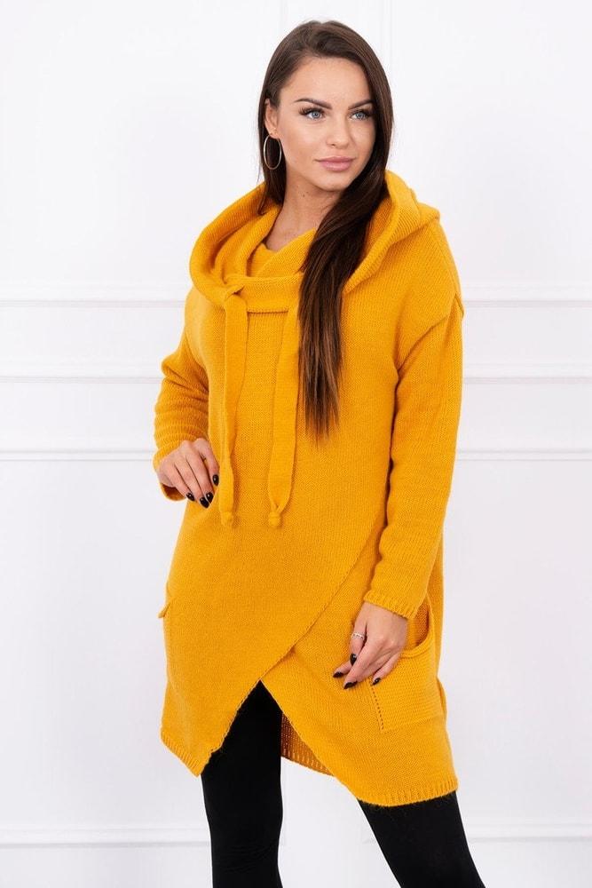 59e853256827d Asymetrický sveter s kapucňou - Kesi - Dlhé svetre k legínam - vasa ...