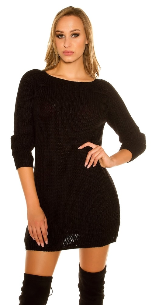 9825ef46e9d9 Pletené čierne minišaty - Koucla - Úpletové šaty - vasa-moda.sk