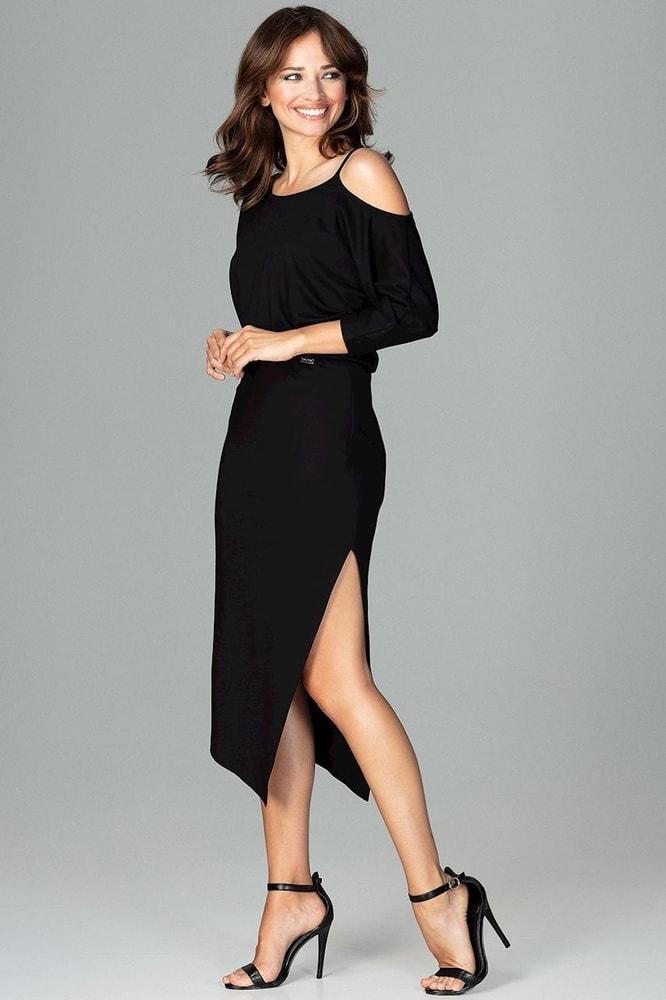 98df3326cc46 Čierne elegantné šaty - Ptakmoda - Šaty pre voľný čas - vasa-moda.sk