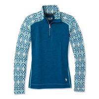 W MERINO 250 BASELAYER PATTERN 1/4 ZIP nile blue medallion