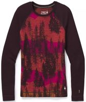 W MERINO 250 BASELAYER PATTERN CREW woodsmoke forest scape