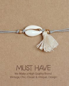 MUST HAVE series: Náramek Grey Tassel Shell bracelet