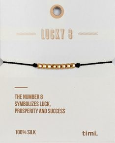 MAKE A WISH series: Black Gold Lucky 8 Silk Bracelet