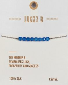 MAKE A WISH series: Blue Lucky 8 Stone Silver Bracelet