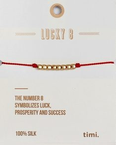 MAKE A WISH series: Red Lucky 8 Silk Gold Bracelet