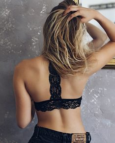 Black lace bra Back Stripe BeChick ❤