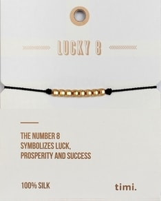 MAKE A WISH series: Black Lucky 8 Silk Gold Bracelet