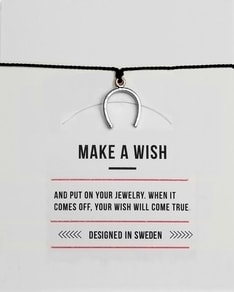 MAKE A WISH series: Black Horseshoe Silver Silk Bracelet