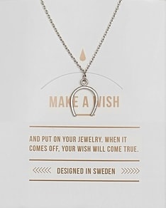 MAKE A WISH series: Silver Horseshoe Card Necklace