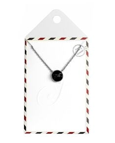 LOVELY LETTER series: Silver Marble Black Stone