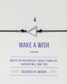 MAKE A WISH series: Black Triangle Silver Silk Bracelet