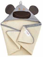 3 Sprouts Hooded Towel - Monkey Grey