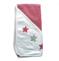 ISI Mini Hooded towel with stars 80 x 80 - Ručník s kapucí - Pink white with stars