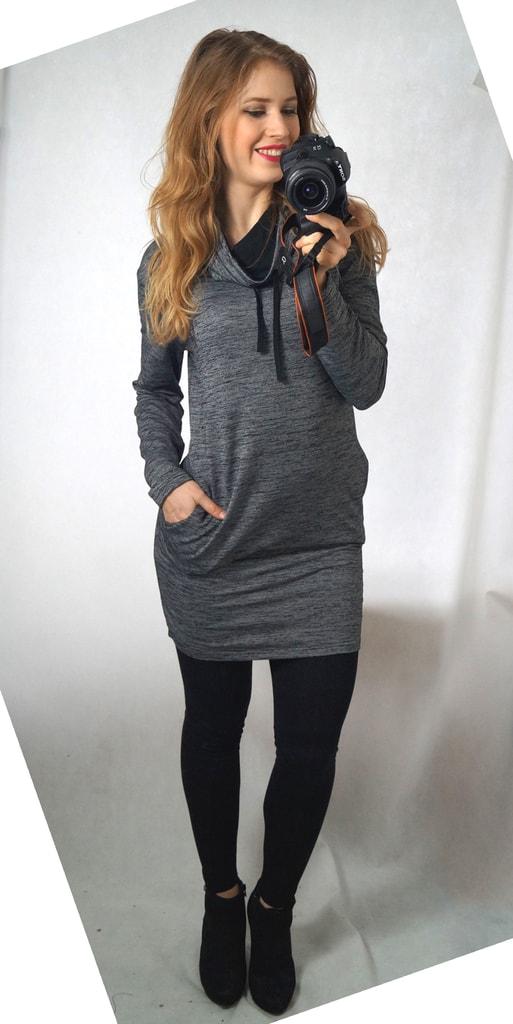 70f21494c0c6 Krasaprozeny.cz - Luxusní mikinové šaty - šedý melír - Sukně