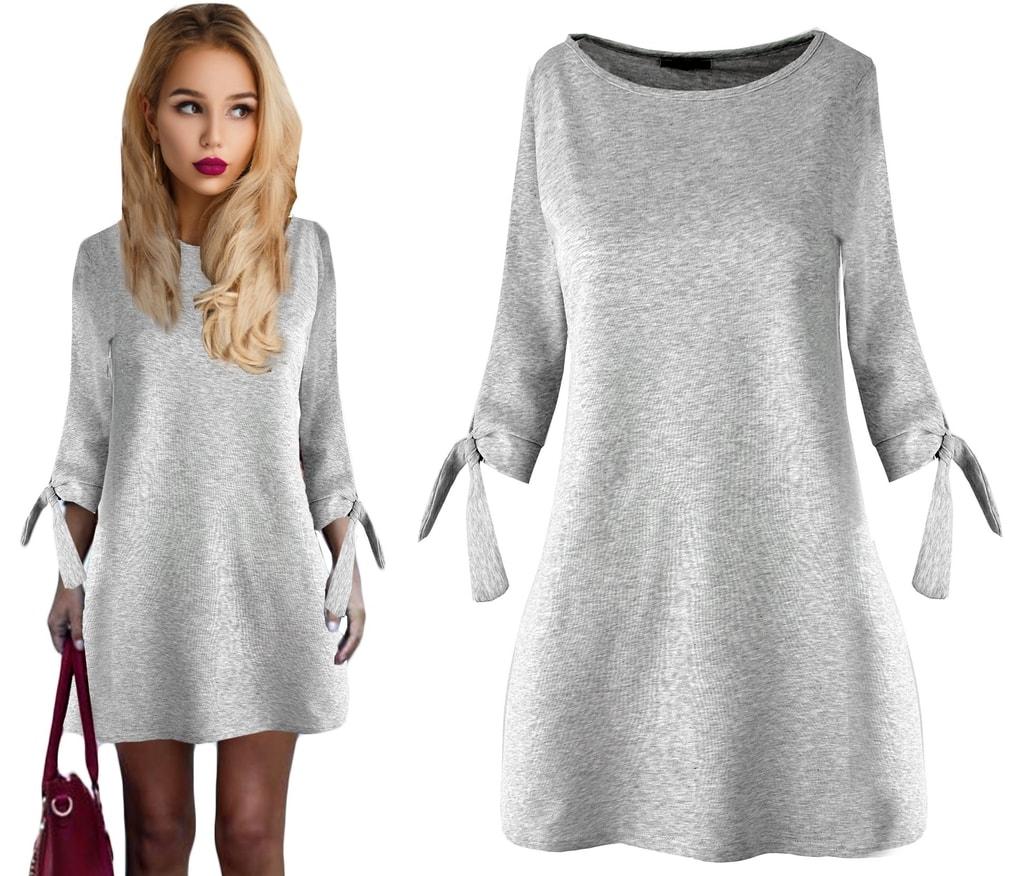 08dd4319af53 Krasaprozeny.cz - LUXUSNÍ! dámské šaty s mašlí - šedá - Sukně
