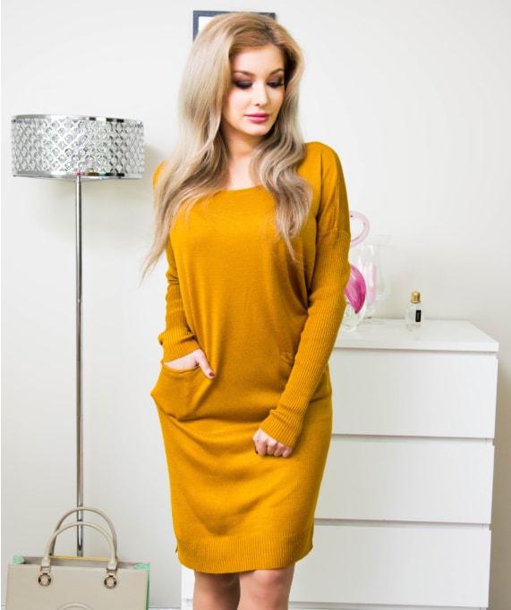 05843850a Krasaprozeny.cz - Dokonalé dámské šaty s kapsami - yellow - Móda XXL ...