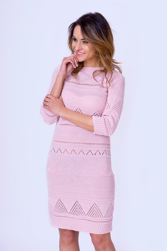 72adf9f9978a Krasaprozeny.cz - Luxusní pletené šaty - pink - Sukně