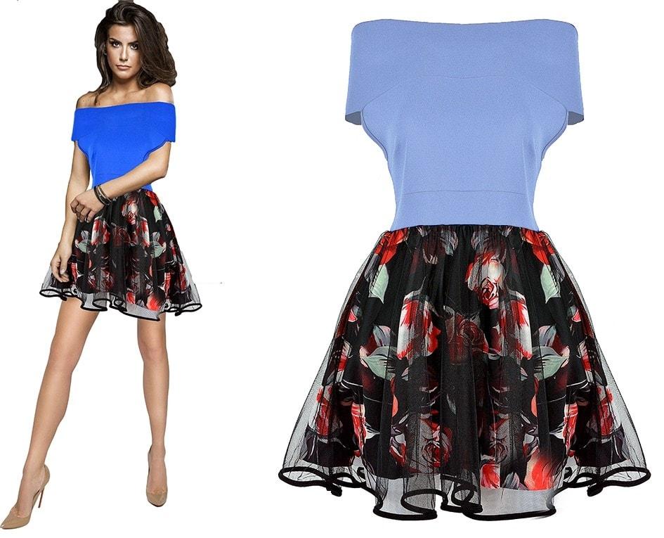 2a1bd05af51e ... Dámské luxusní šaty s květovanou sukní - light blue. moderní šaty