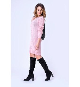 dd82bfbc2186 Krasaprozeny.cz - Exkluzivní dámské pletené šaty - pink - Sukně ...