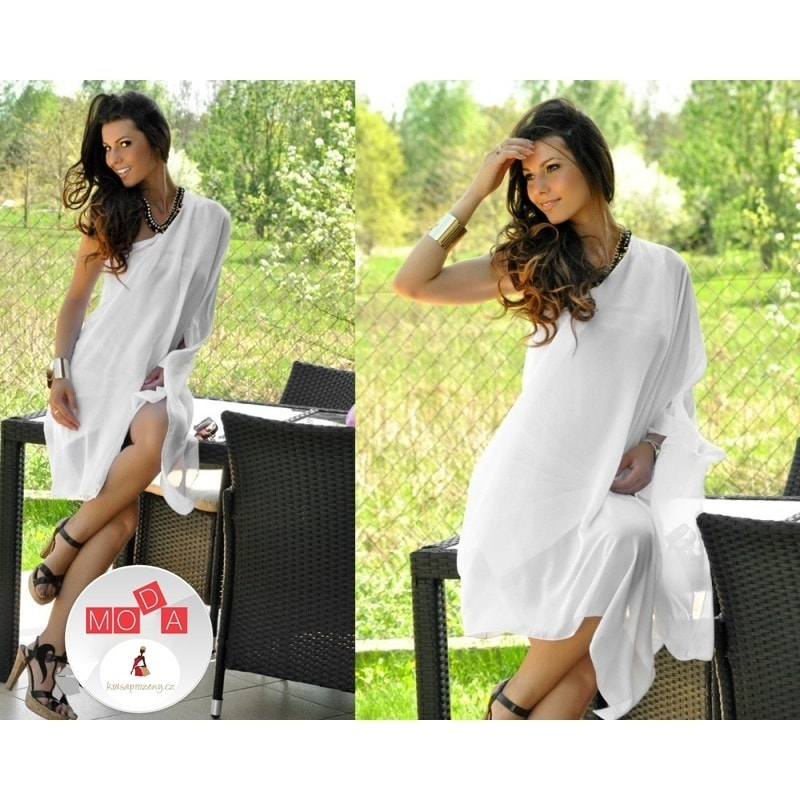 44acff2900f6 Krasaprozeny.cz - Dámské šifónové šaty - white - Sukně