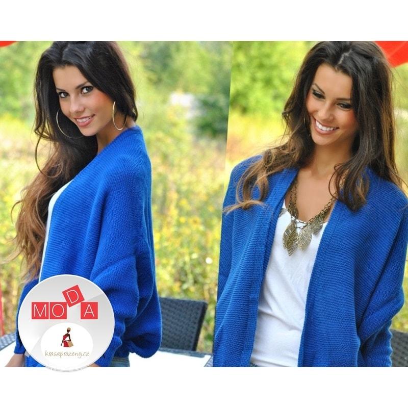 a142c78674b7 Krasaprozeny.cz - Dámský pletený kardigan s 3 4 rukávy - blue ...