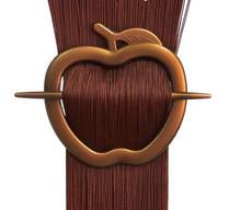Spona na záclonu jablko - měděná 1ks