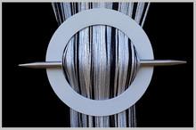 Provázková záclona De Luxe trio-effect- bílá-stříbrná-černá