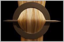 Provázková záclona De Luxe trio-effect-bílá-zlatá-ecru