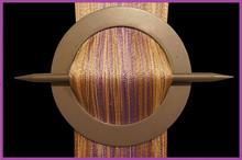 Provázková záclona De Luxe trio-effect-fialová-zlatá-ecru