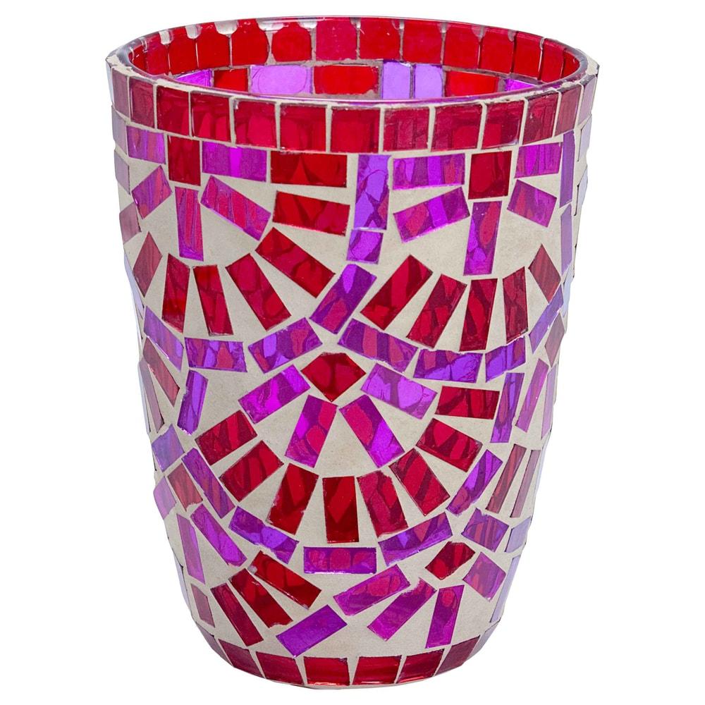 TIFFANY Lucerna na svíčku 12 cm - červená/růžová