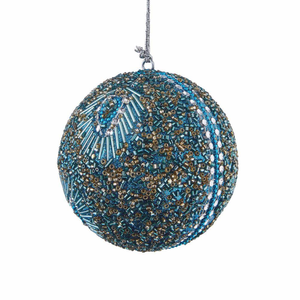 HANG ON Vánoční koule s korálky 8 cm - tyrkysová