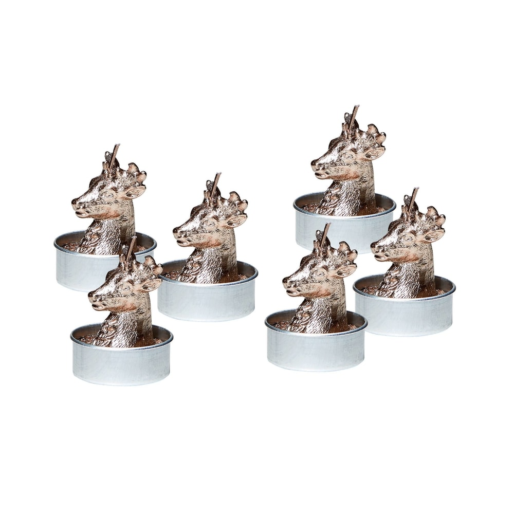 FLAMBEAU Čajová svíčka jelen 6 ks - stříbrná