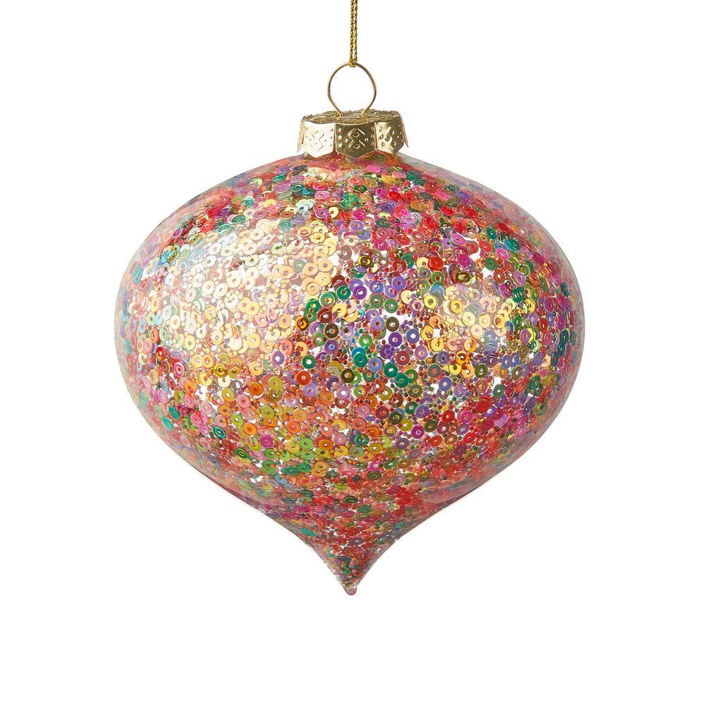 HANG ON Vánoční baňka se třpytkami 10 cm