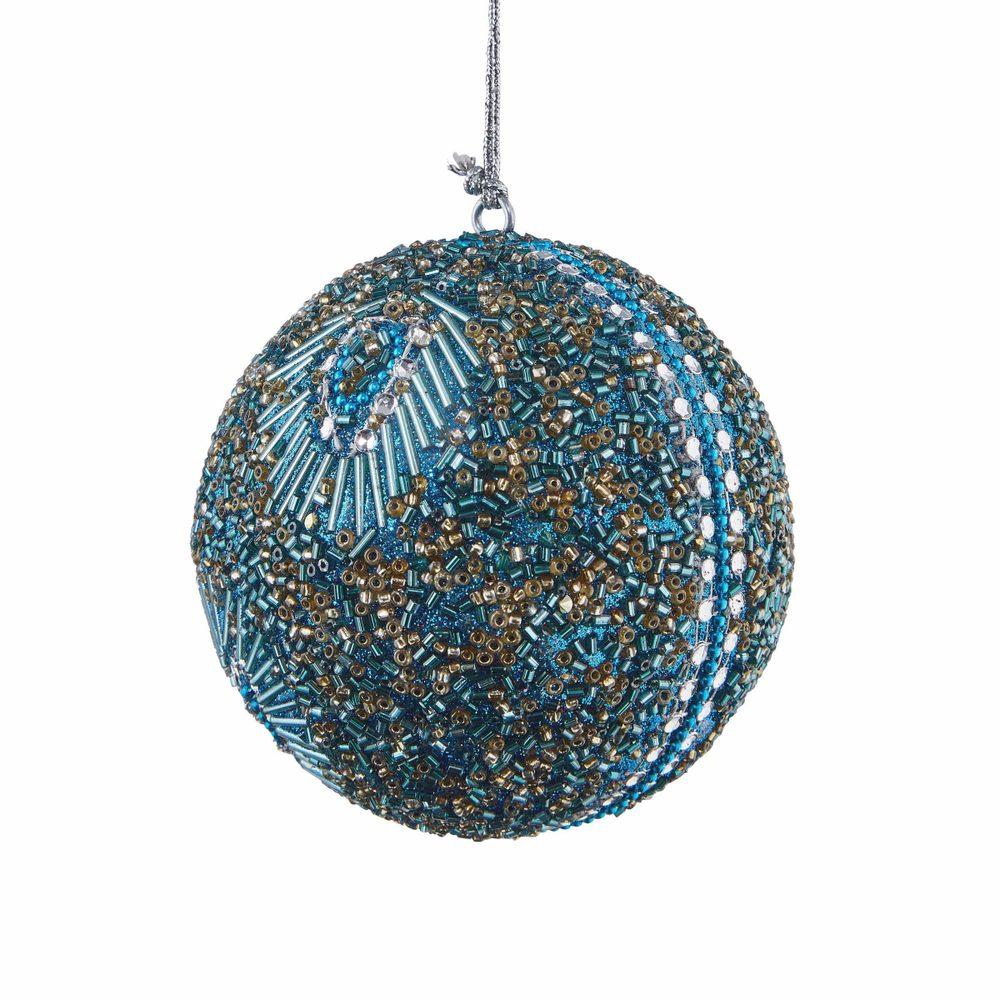Fotografie HANG ON Vánoční koule s korálky 8 cm sada 4 ks - tyrkysová