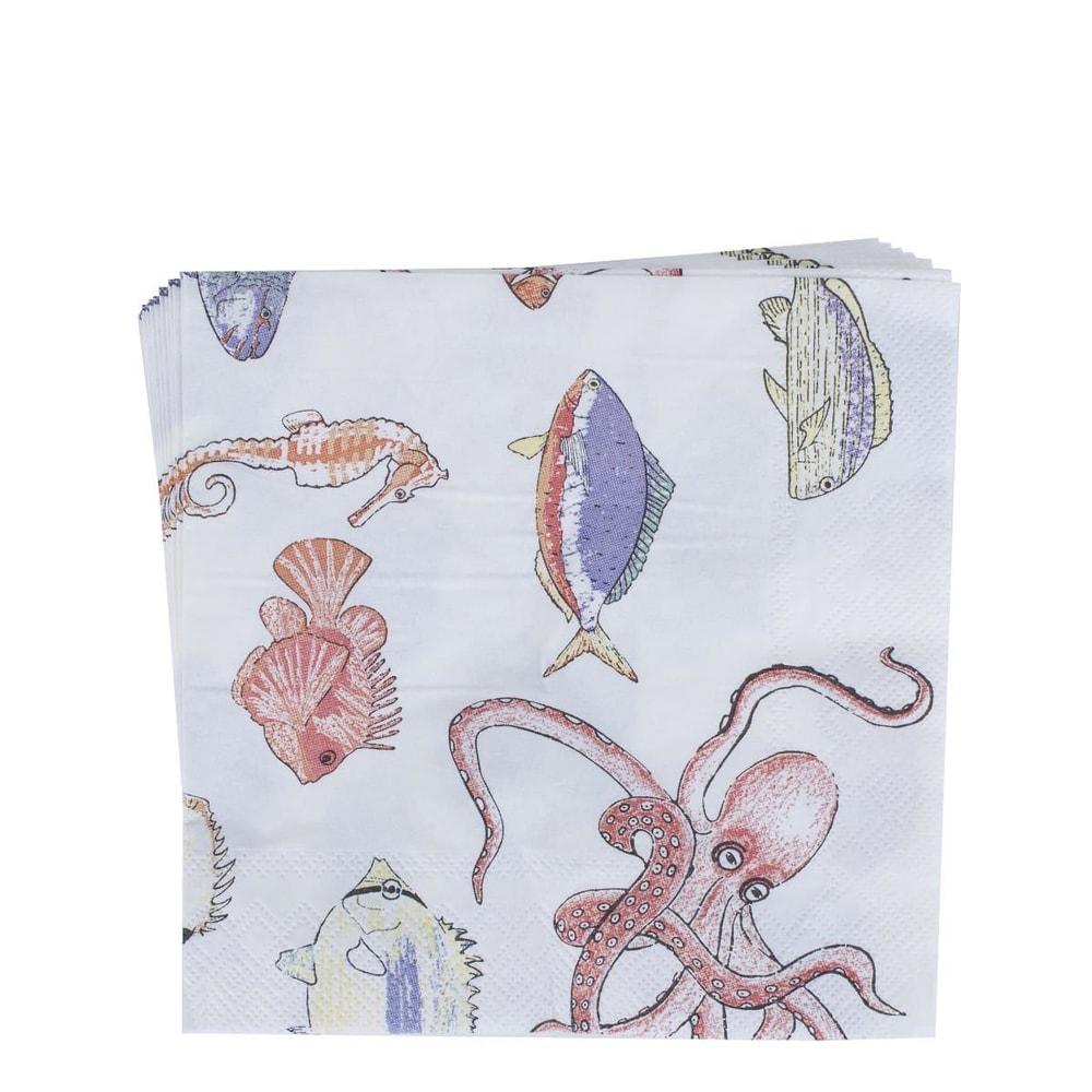 APRÉS Papírové ubrousky ryby - bílá