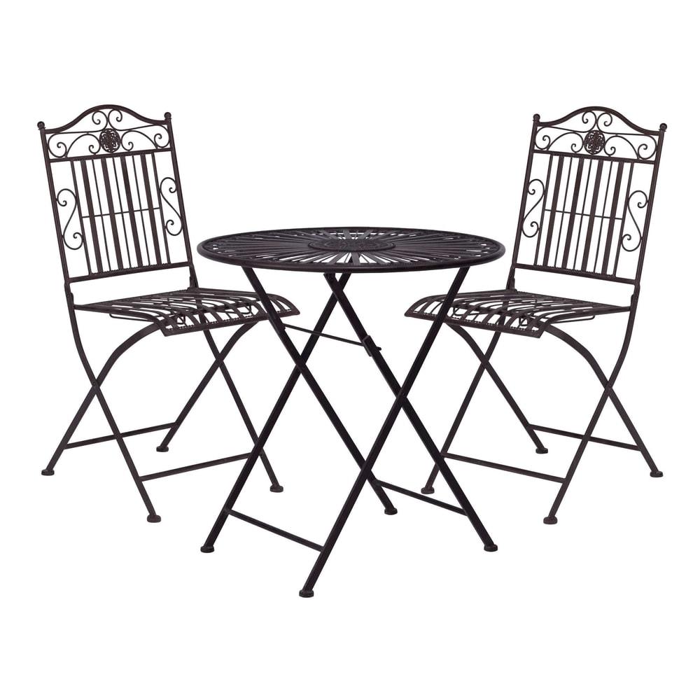 TERRACE HILL Balkonový set 2 ks židle a 1 ks stůl - tm. hnědá
