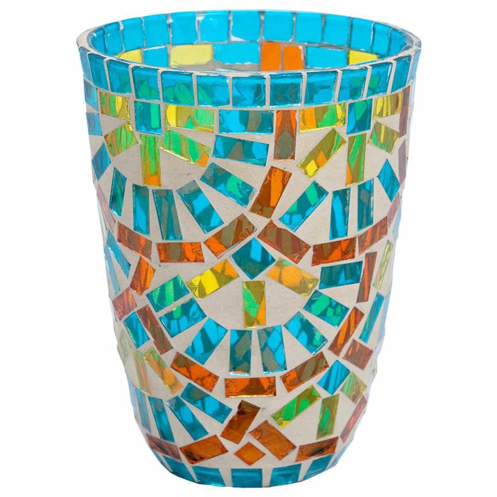 TIFFANY Lucerna na svíčku 12 cm - tyrkysová/oranžová