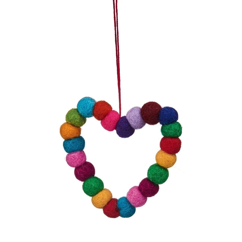 Produktové foto HANG ON Ozdoba srdce s filcových koulí