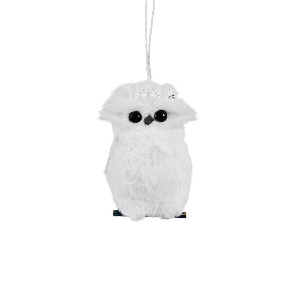 Fotografie HANG ON Ozdoba sova s peřím - bílá