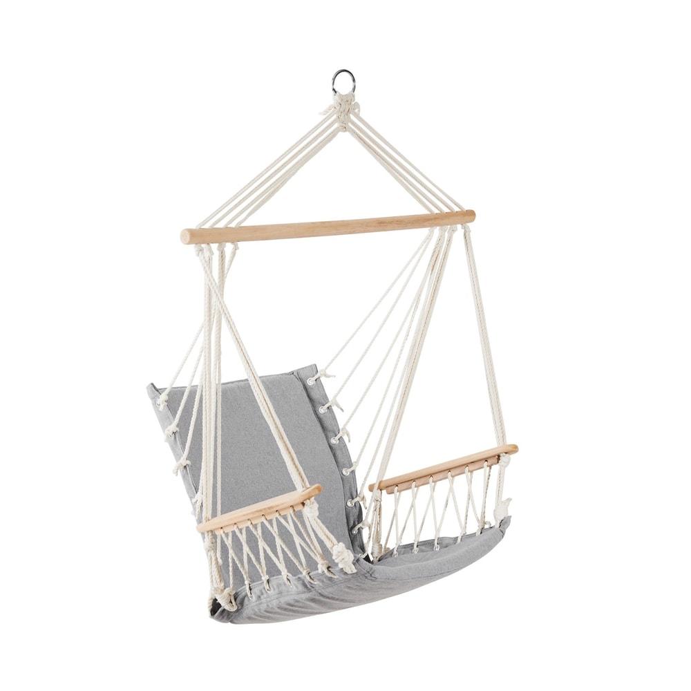 BABOON Závěsné křeslo s dřevěnými područkami - šedá