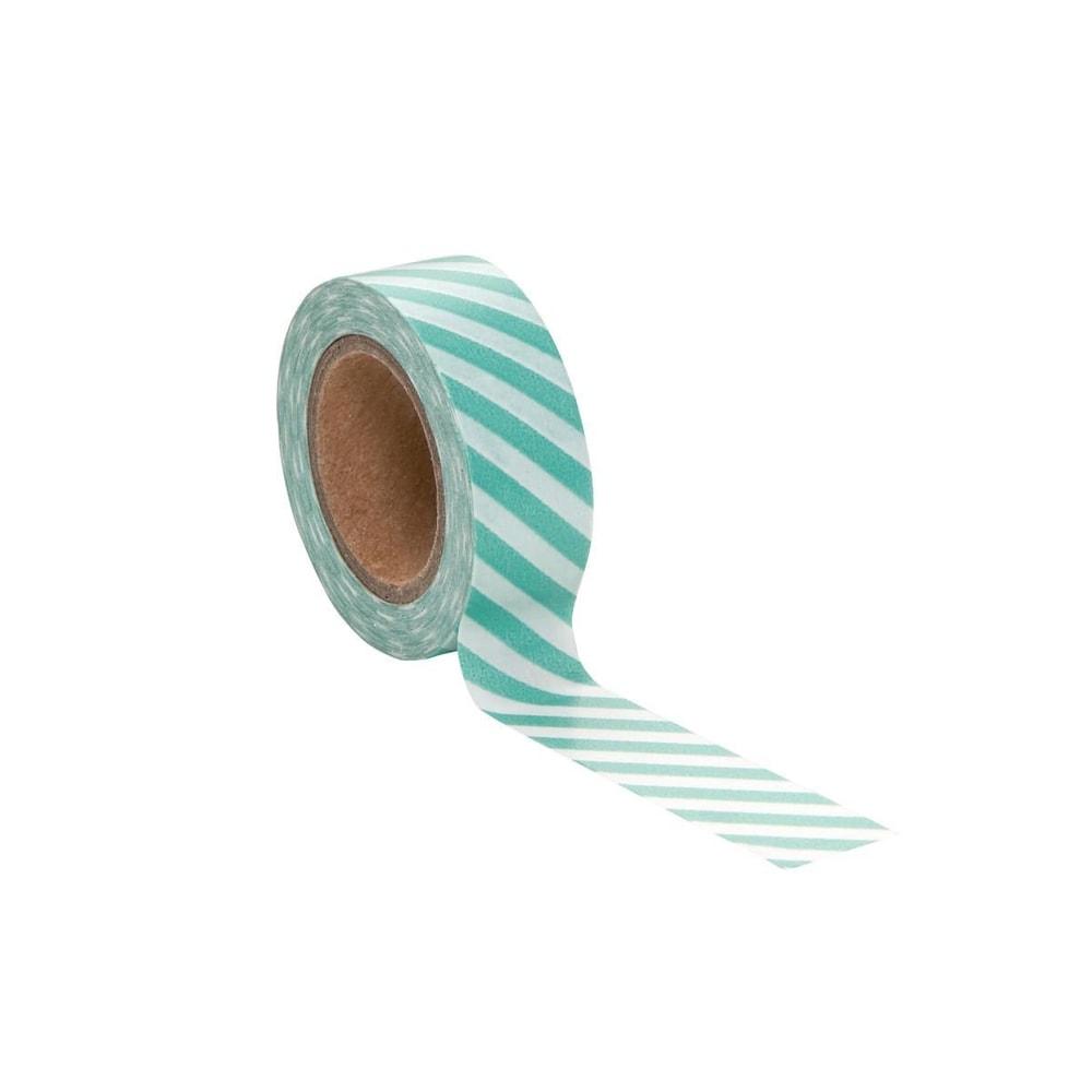 TAPE Lepicí páska diagonála - zelená/bílá