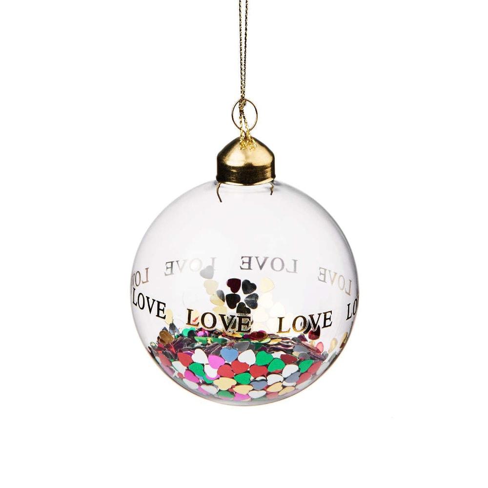 HANG ON Vánoční koule konfety srdce 8 cm