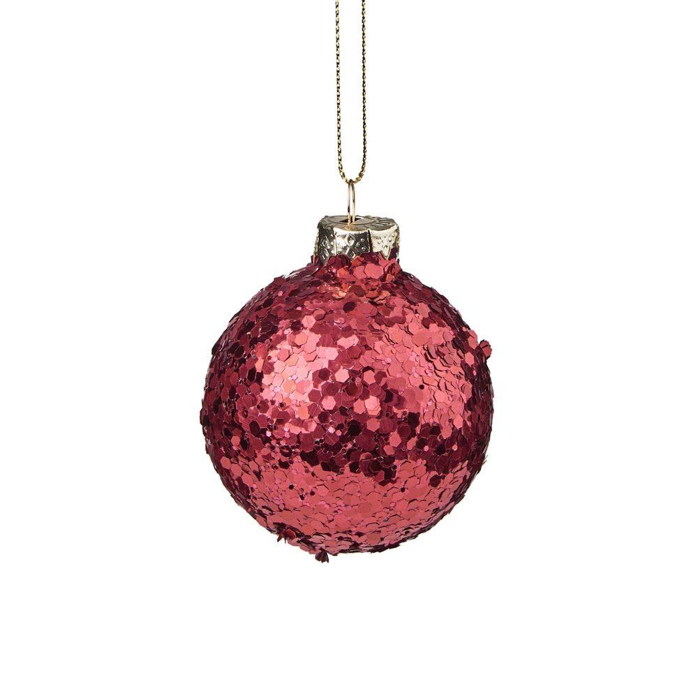 Fotografie HANG ON Vánoční koule se třpytkami 6 cm - červená HANG ON