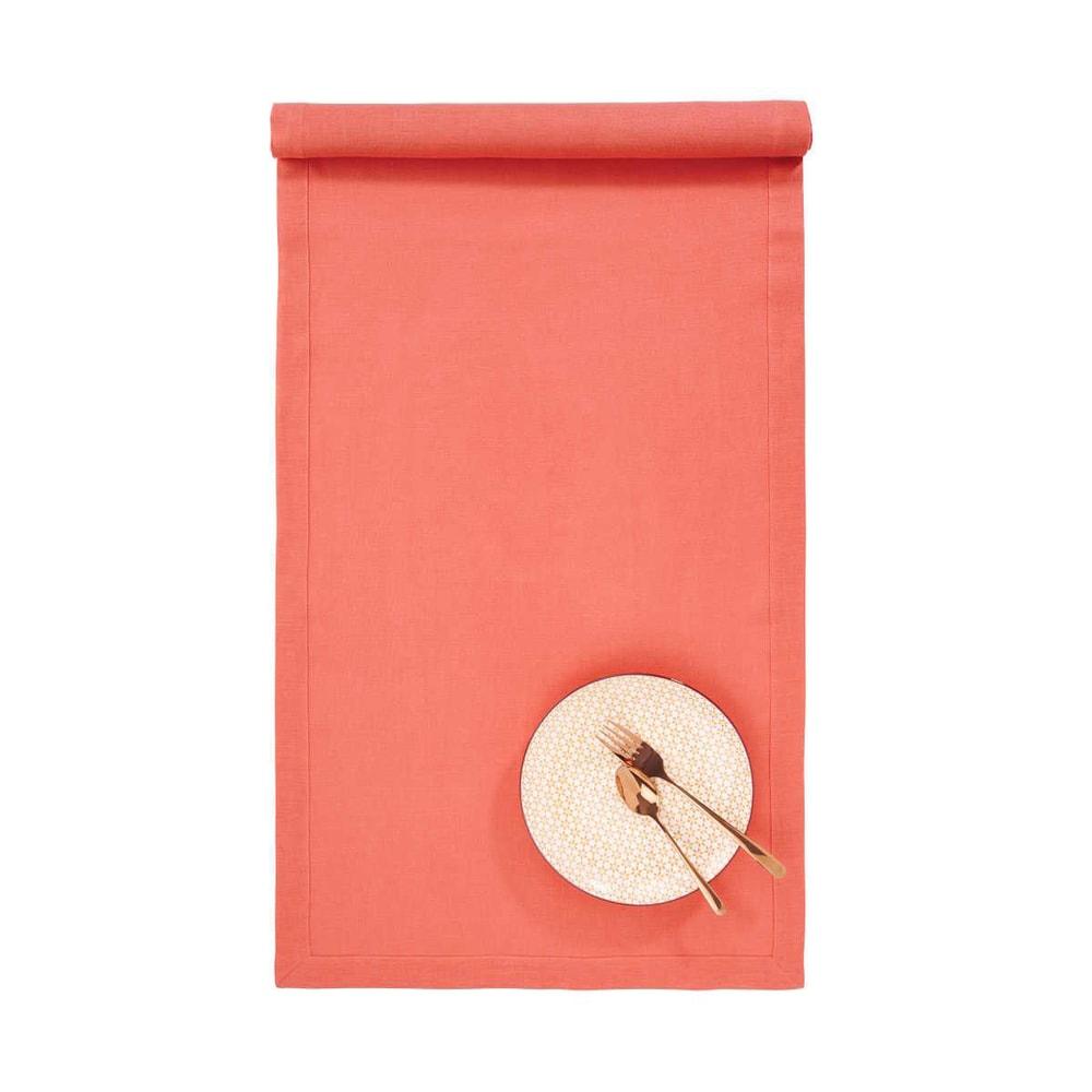 PLAIN & NOBLE Běhoun na stůl 50 x 150 cm - tm. oranžová